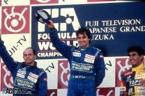 Roberto Moreno, Nelson Piquet, Aguri Suzuki, Suzuka, 1990