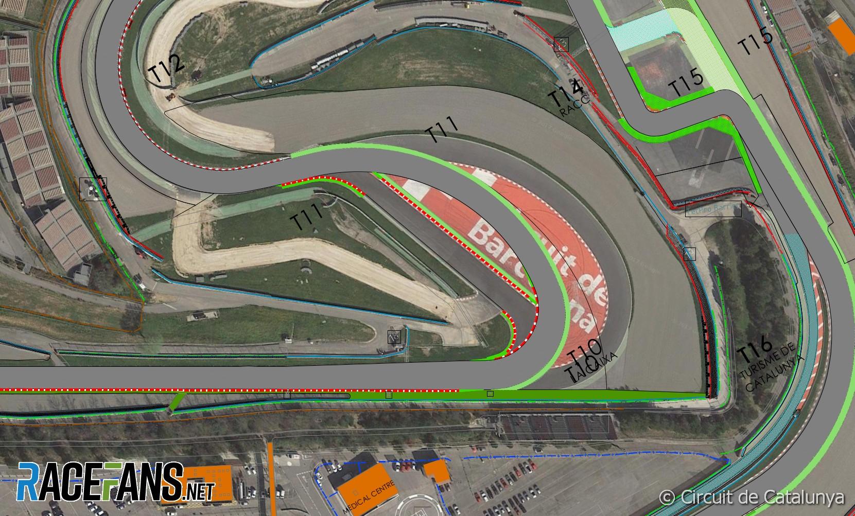 Original, revised and new turn 10, Circuit de Catalunya