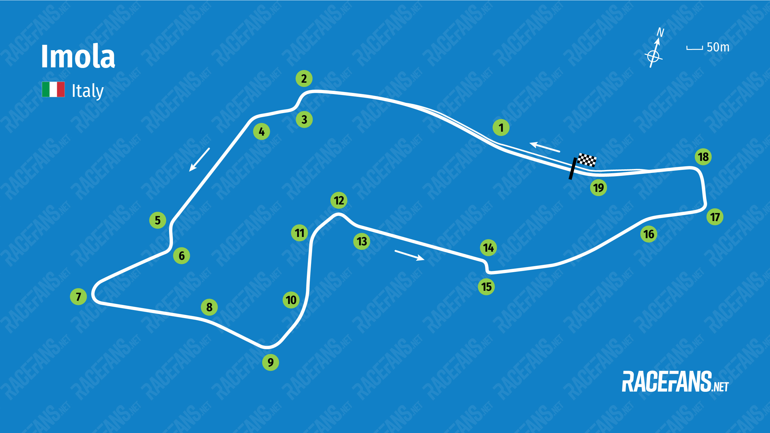 Imola circuit map, 2021