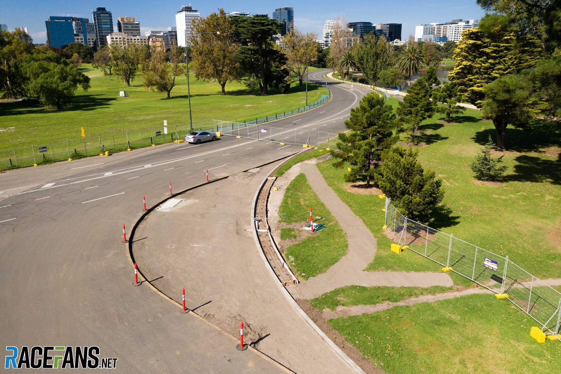 Turn six changes, Albert Park, Melbourne, 2021