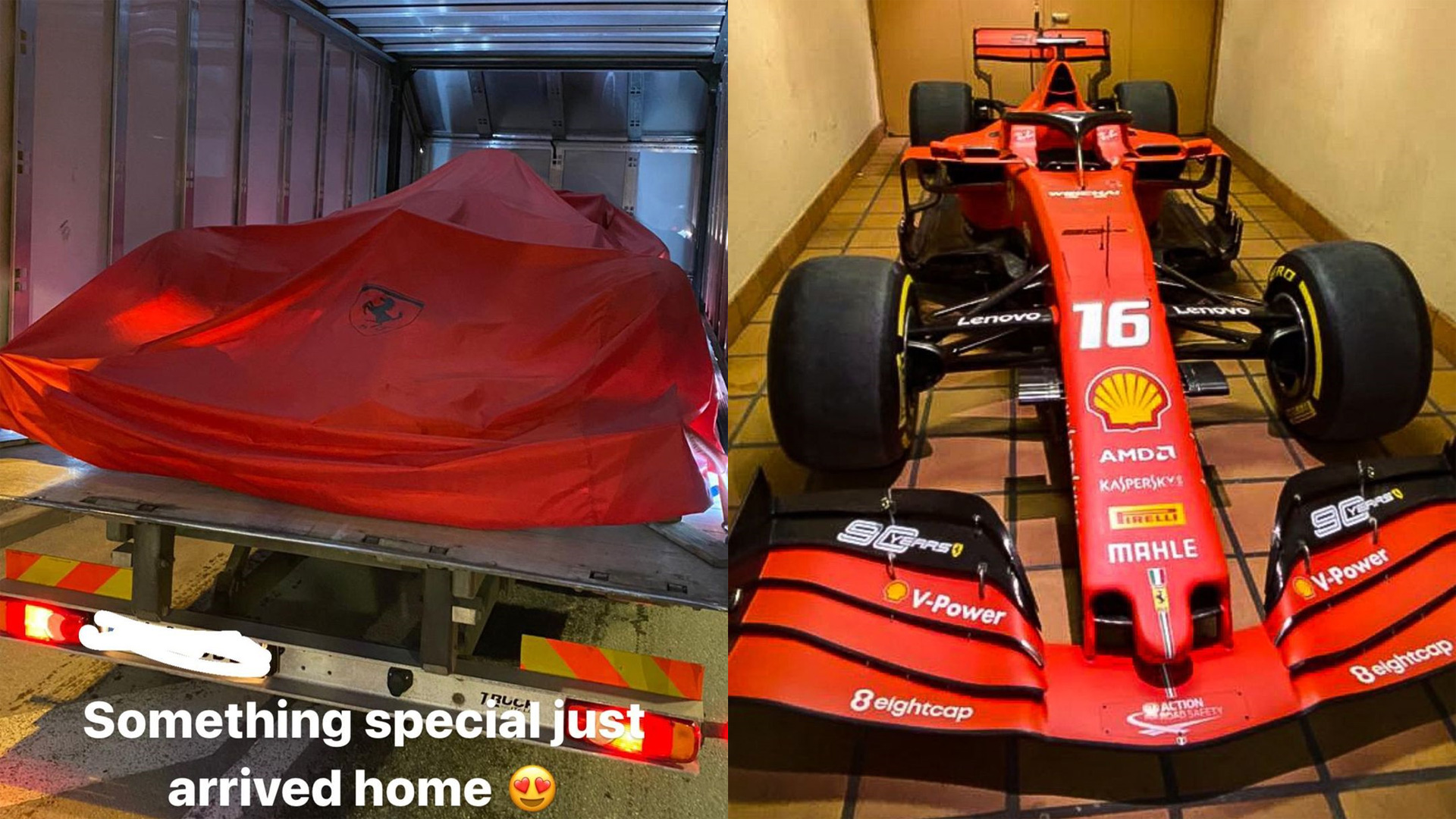 Leclerc shared images of his Ferrari SF90 on social media