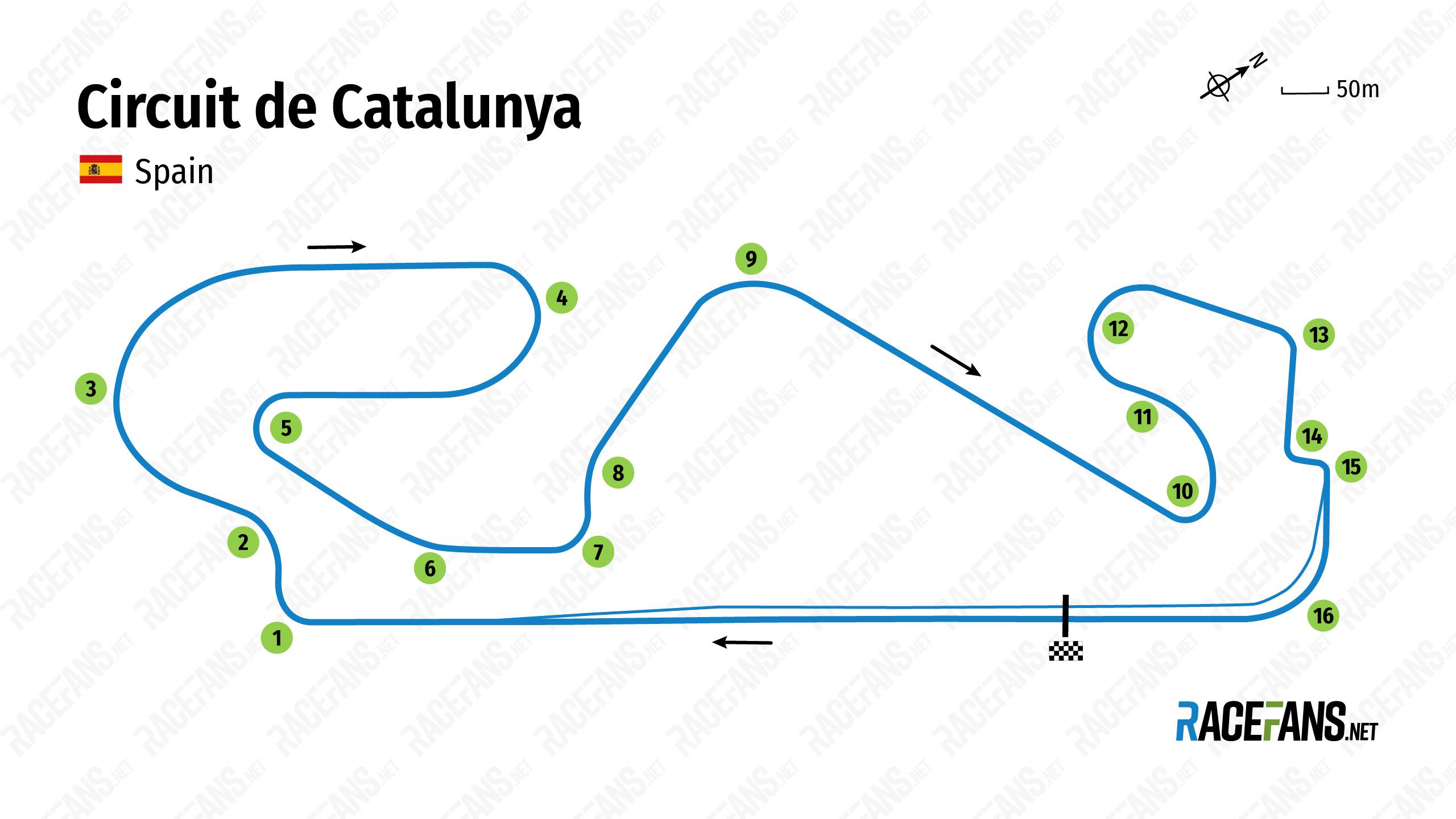 Circuit de Catalunya track map, 2021
