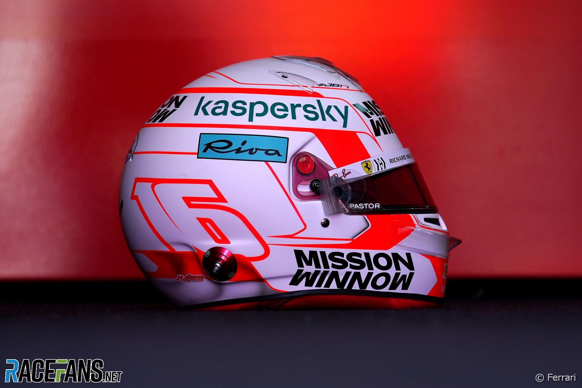 Charles Leclerc's Portuguese Grand Prix helmet, Algarve, 2021
