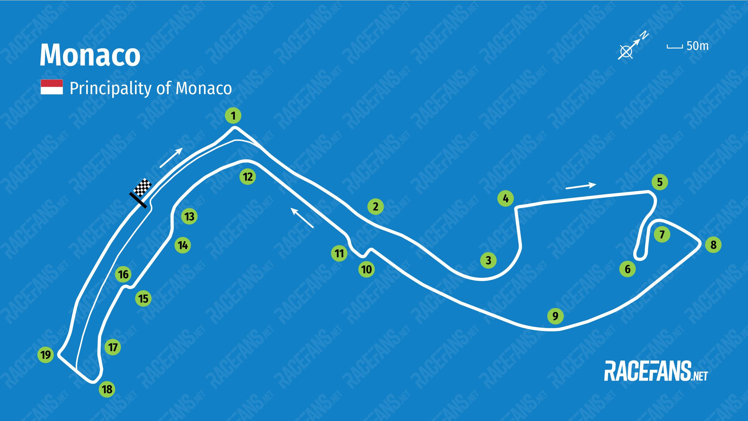 Monaco track map