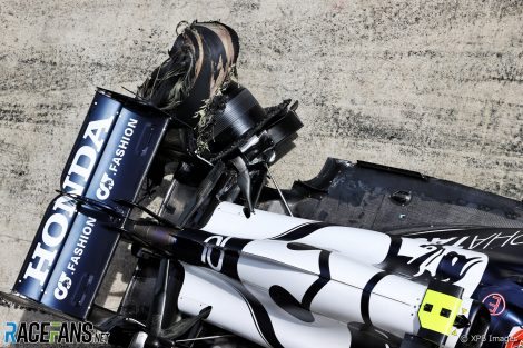 Pierre Gasly's destroyed left-rear tyre, 2021 Styrian Grand Prix