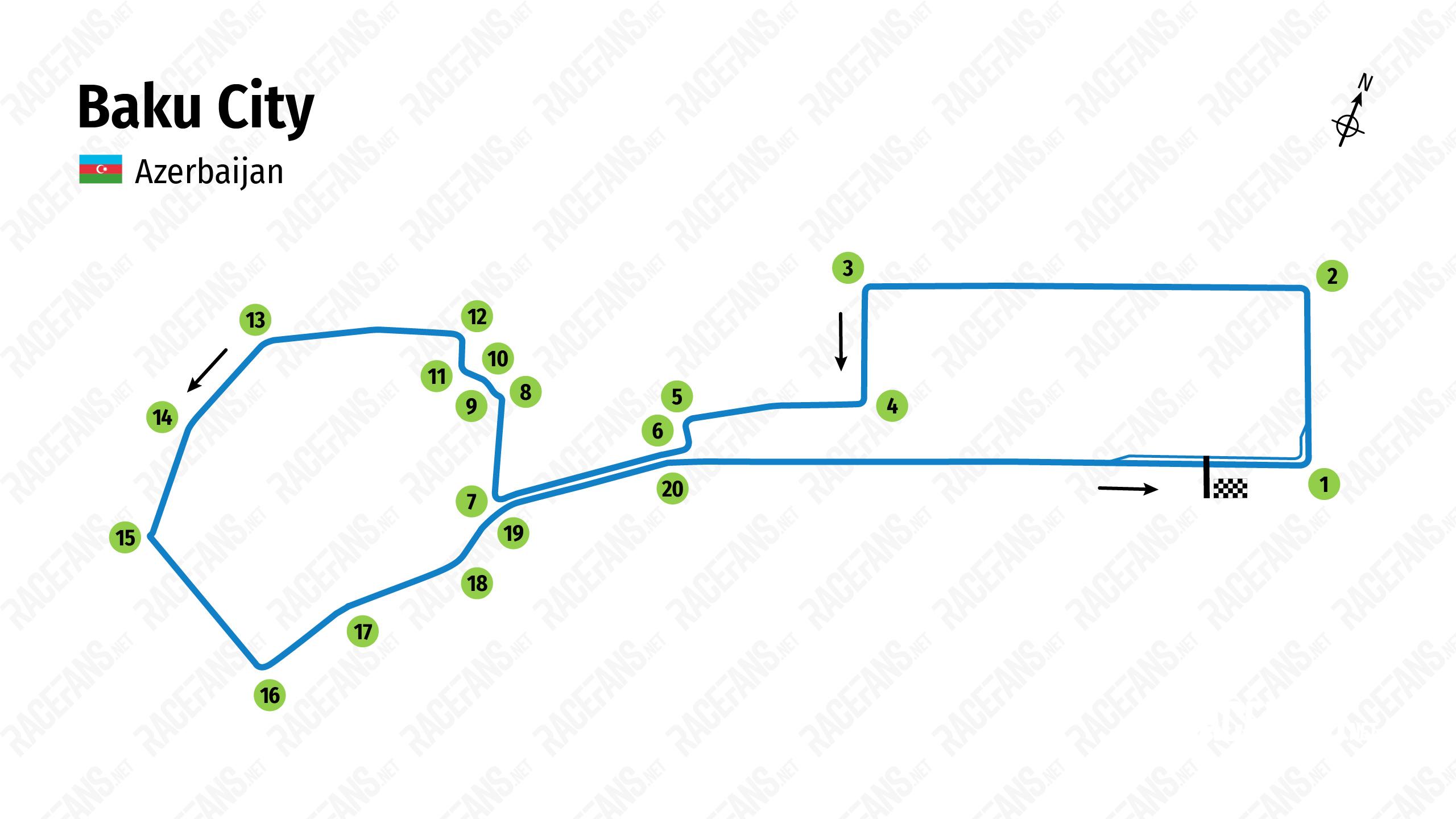 Baku City Circuit track map, 2021