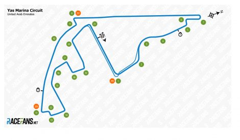 Yas Marina track map, 2019