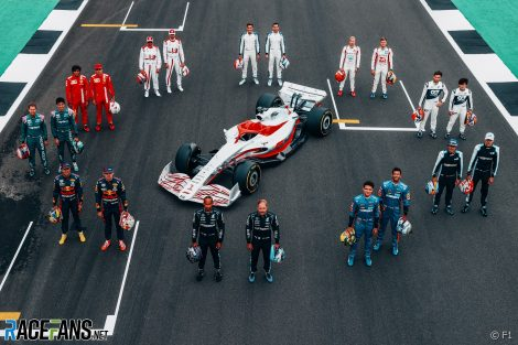 Drivers with 2022 F1 car model, Silverstone, 2021
