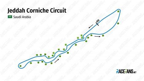 Jeddah Corniche Circuit track map, 2021