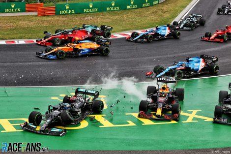 Start crash, Hungaroring, 2021