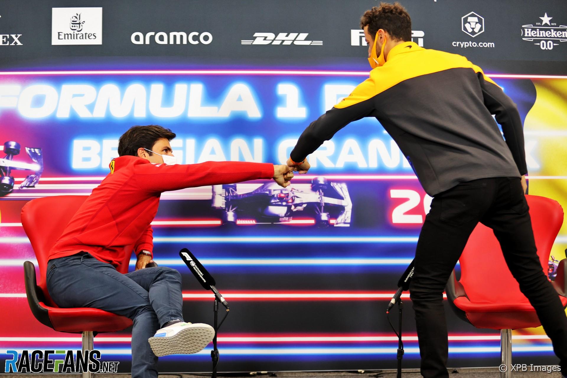 Carlos Sainz Jnr, Daniel Ricciardo, Spa-Francorchamps, 2021