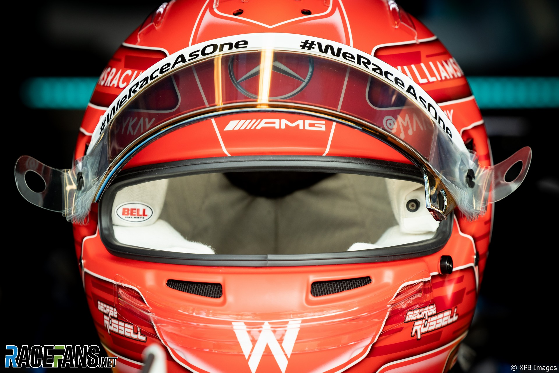 George Russell's helmet camera, Williams, Monza, 2021